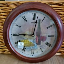 Seiko Quiet Sweep Second Hand Wine Clock  QHA001BLH New, Looks and Works Great!