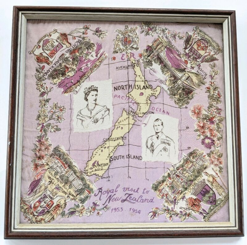 Vintage Framed Scarf Wall Art Royal Visit New Zealand 1953 Queen Elizabeth Crown