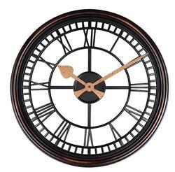 "Roman Grill Wall Clock Bronze Vintage Antique 20"" Quartz Large Home Plastic"