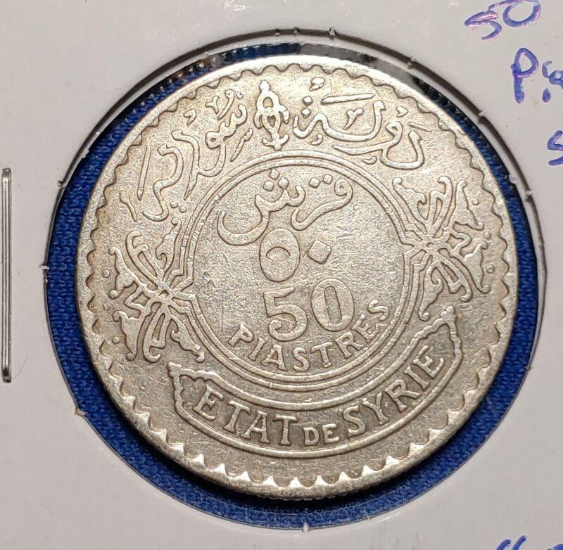 SYRIA  50 PIASTRES COIN 1929 NICE CONDITION EB50