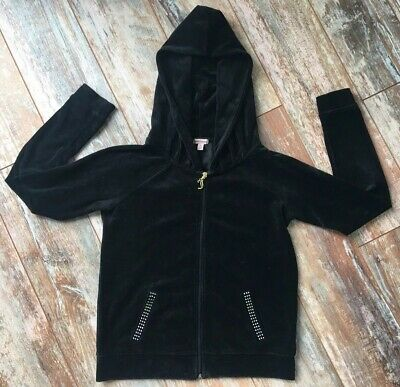 JUICY COUTURE Youth Girls Hoodie Full Zip M Embellished Black Velvety Pockets
