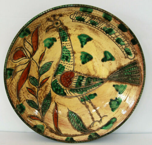 STUNNING Large Redware Plate with Sgraffito Bird & Slip Design with HR 1793