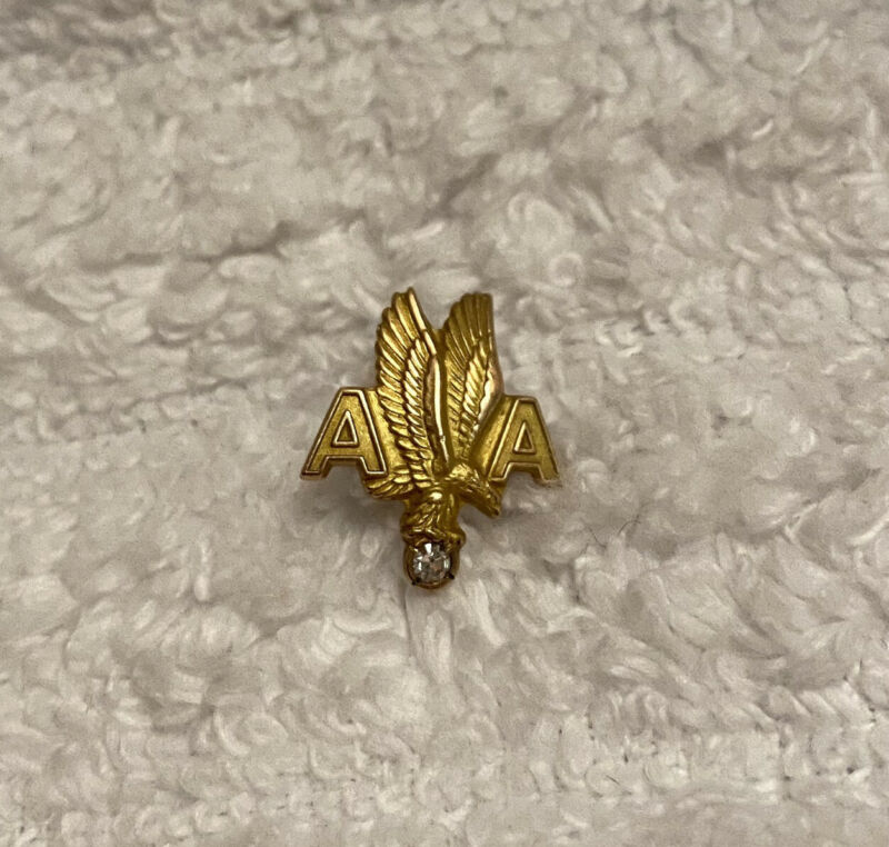 VINTAGE AMERICAN AIRLINES 10 YEAR SERVICE PIN ~ 10K GOLD & DIAMOND