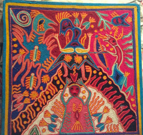 Vintage Jose Benito Sanchez Huichol  Folk Art Mexico Shaman Peyote Yarn Painting
