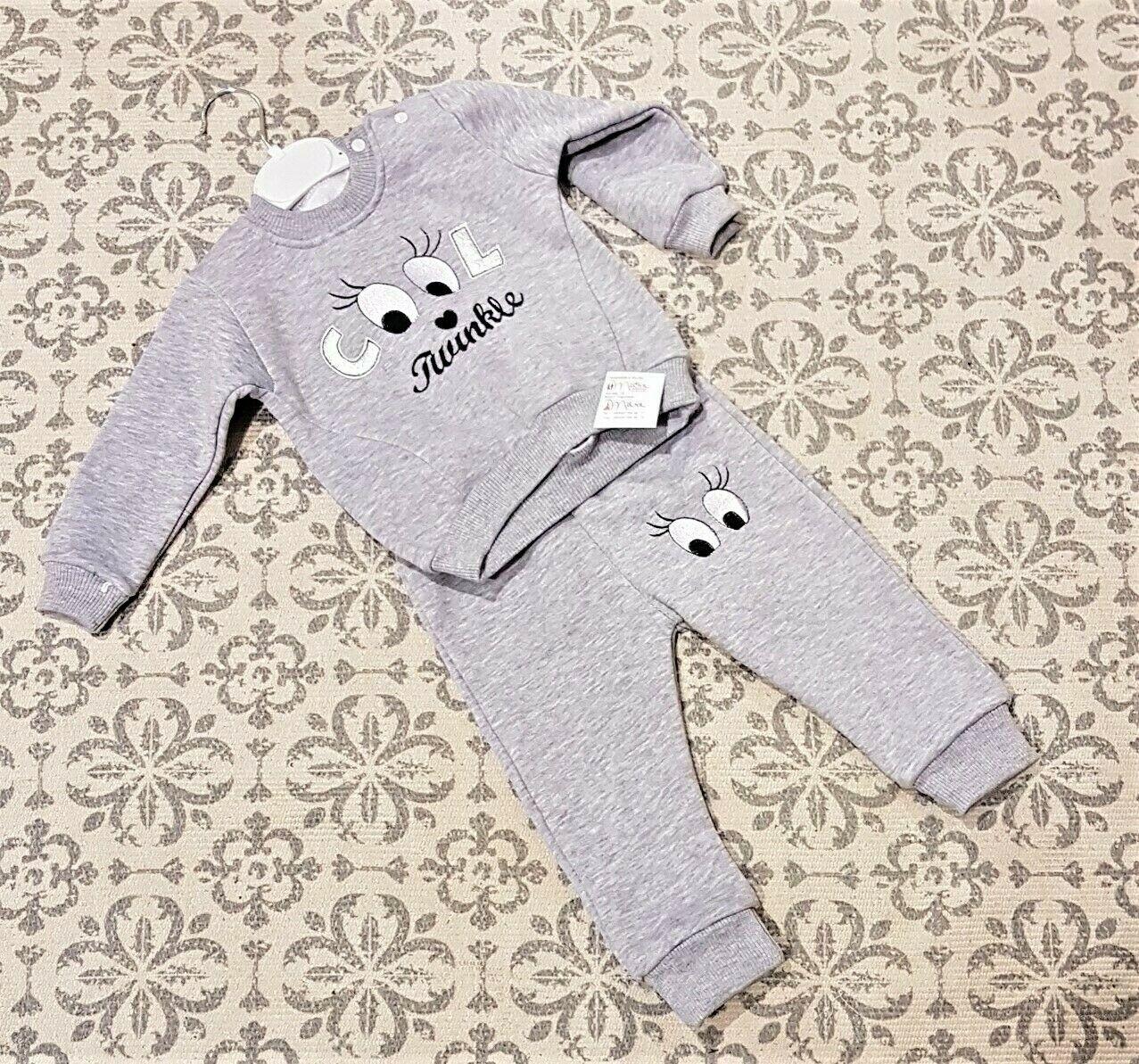 Junge Kinderkleidung Babykleidung Cool 2-Teilig Sweatshirt Hose Gr. 68-86 grau