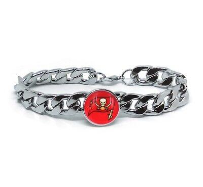 Tampa Bay Buccaneers Silver Mens Curb Link Chain Bracelet Football Gift D4-1 (Tampa Bay Buccaneers Bracelets)