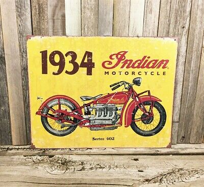 Indian Motorcycle Chief 1934 Series 402 Metal Tin Sign Vintage Rustic Garage New