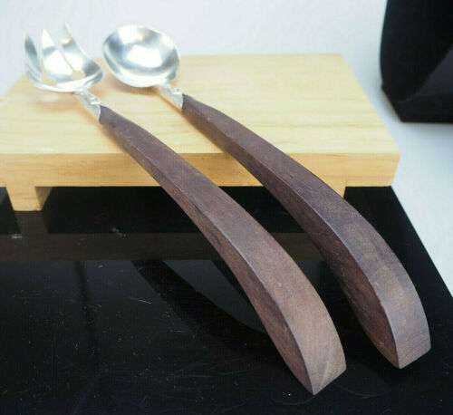 TAXCO! CONTEMPORARY STERLING SILVER AND WALNUT SERVING UTENSIL SET FOR SALADS