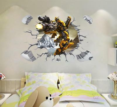 NEW 3D Transformers Yellow Bumblebee HUGE Wall Stickers Kids Home Decor  ()