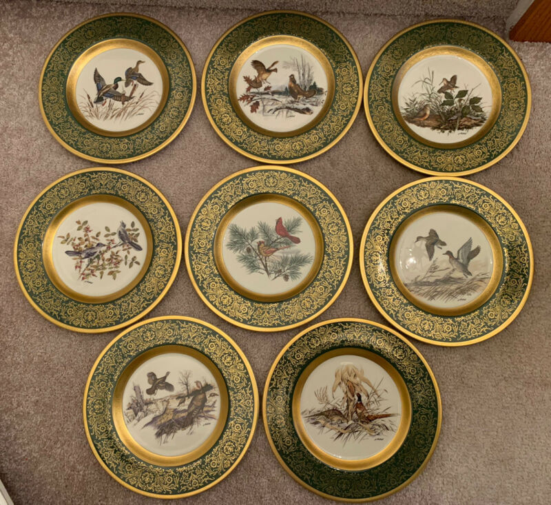 "Set Of 8 PICKARD ""LOCKHART BIRDS"" 10 3/4"" Plates Rare Green w/Gold Scrolling"
