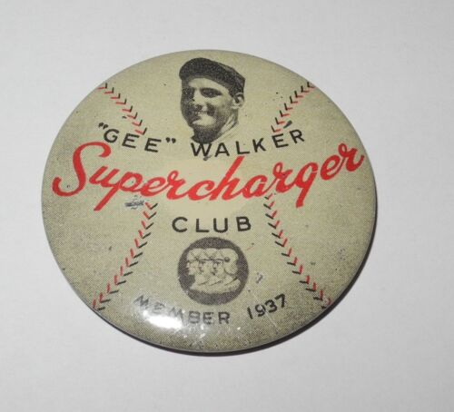 Rare 1937 Gee Walker Detroit Tigers Auto Supercharger Advertising Pin Button