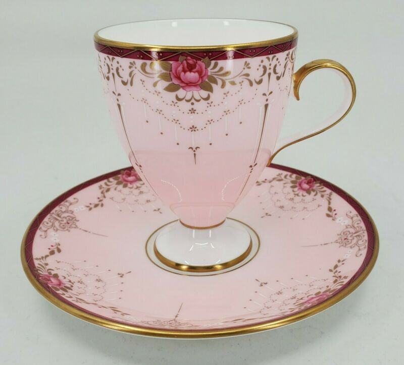 Nikko Company Japan Pink Raised Footed Tea Cup And Saucer