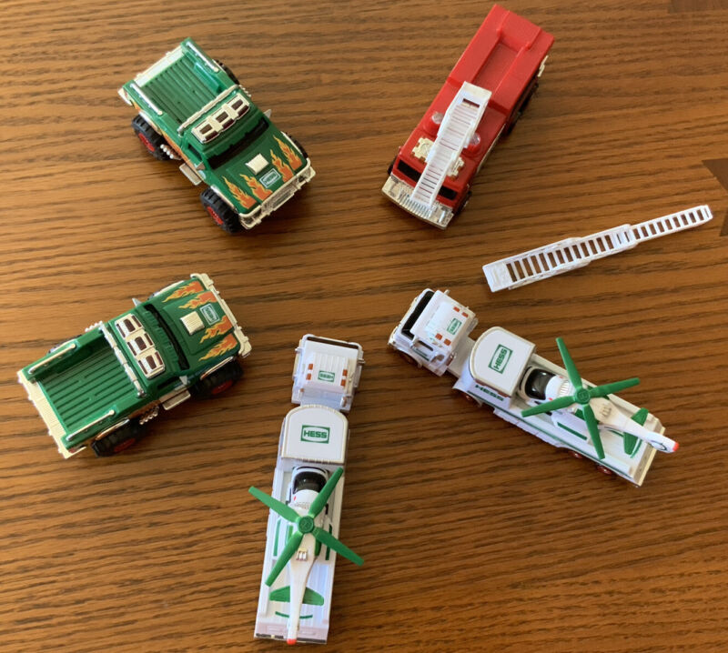 Lot of 5 2017 Mini Miniature Hess Trucks-Fire, Helicopter, Monster~Tested~Clean!