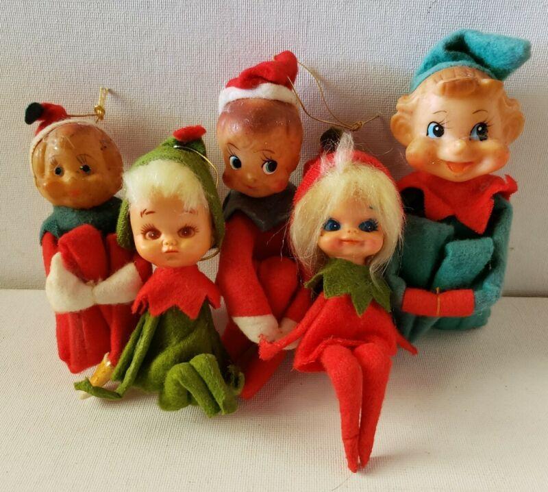 Vintage Japan Christmas Elf Knee Hugger Shelf Sitter Ornaments Lot of 5
