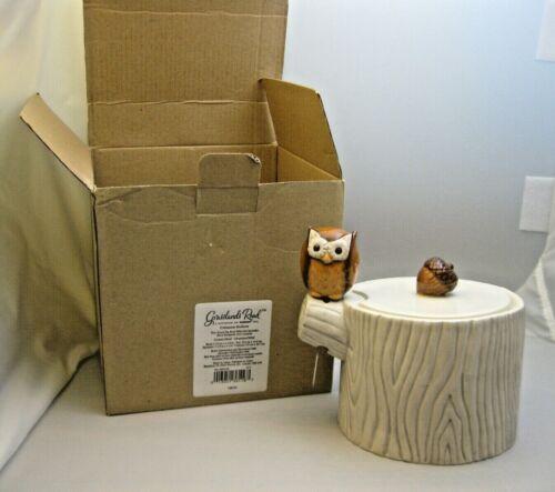 Crimson Hollow Owl Tree Trunk Dip Bowl & Spreader 2013 Grasslands Road New Boxed