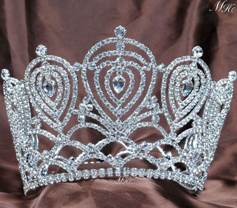 US Women Crystal Rhinestone Full Round Crown Wedding Bridal Tiaras Pageant Prom