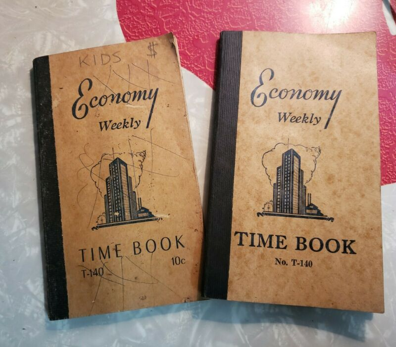 VINTAGE ECONOMY WEEKLY TIME BOOK T-140 HOURLY WAGES WORKER PAY LOG SET