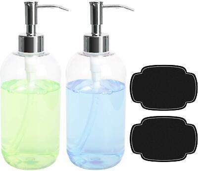 ULG Soap Dispensers Bottles 16oz Countertop Lotion Clear Stainless Steel Pump