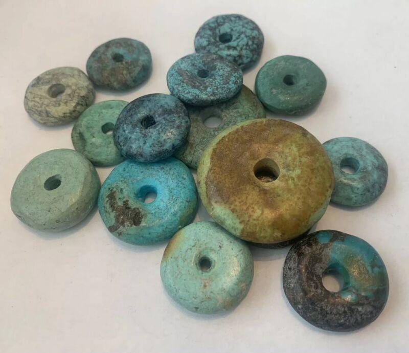 15 Antique Natural Turquoise Tibet Bi Discs Collectible Beads Rare Estate Lot