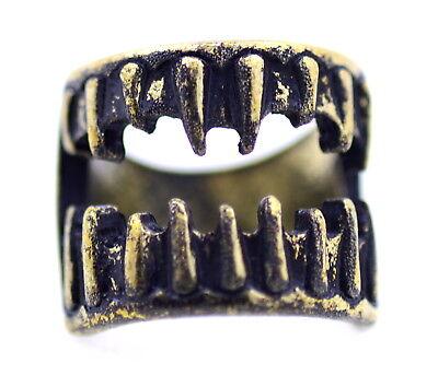 Bronze coloured scary teeth ring. UK size N. Halloween - Halloween Fangs Uk
