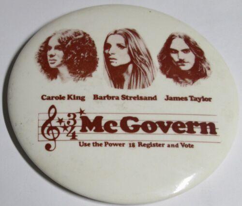 Vintage 1972 McGovern Political Benefit Concert Pin Back Button