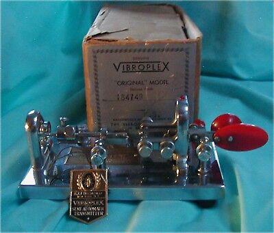 Original Vtg. Vibroplex Deluxe Morse Code CW Bug Telegraph Key Chrome SN-184749
