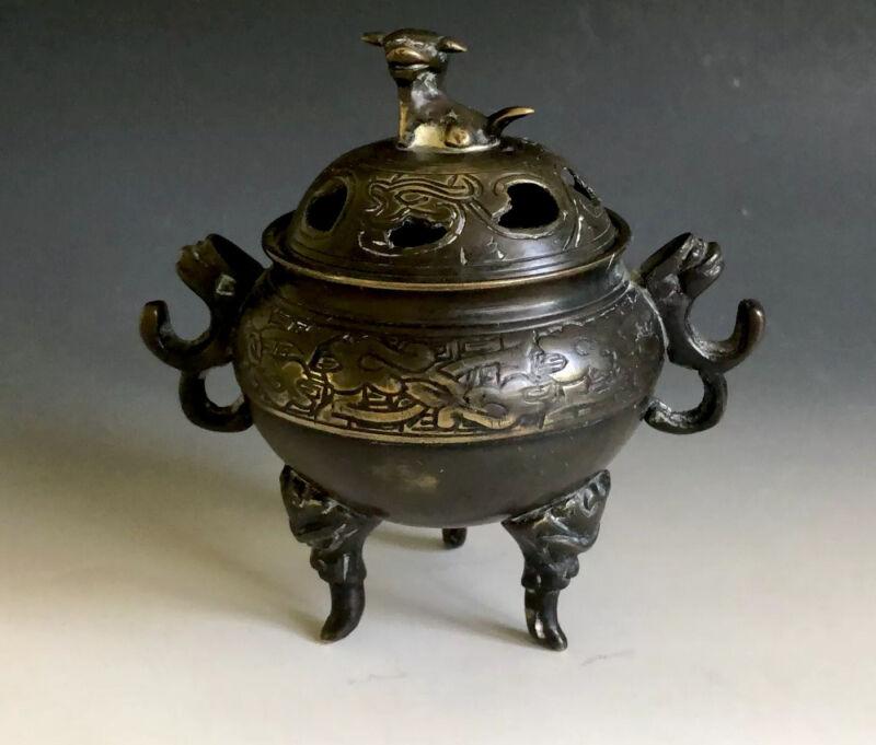 """Antique Chinese Bronze Incense Burner Foo Dog Marked """" 宣德年製"""""""