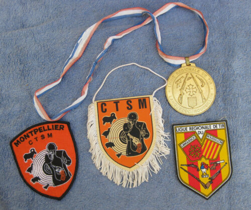 VINTAGE Foreign International FRENCH SHOOTING COMPETITION PATCHES & MEDAL LOT