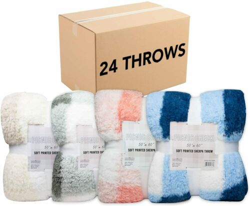 Bulk 24 Pack of Checkered Picnic Throw Blankets, 50x60, Sherpa Fleece, Assorted