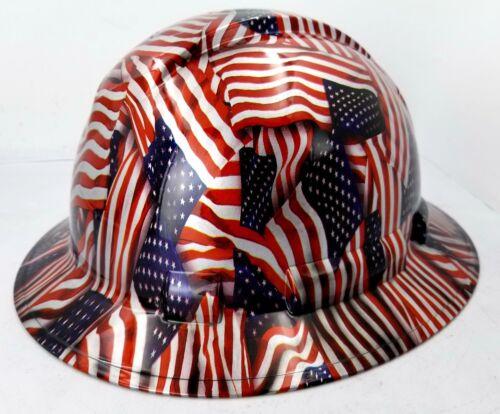 Hard Hat FULL BRIM custom hydro dipped , OSHA approved USA FLAG AMERICAN FLAG 1