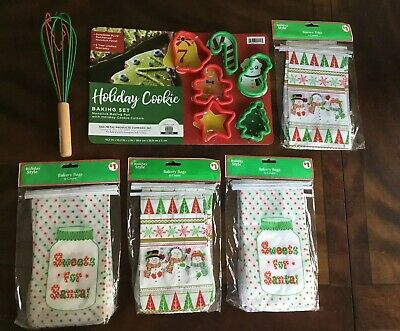 Christmas Holiday Baking Lot Cookie Cutters 4 Pks Bakery Bags Holiday Whisk - Holiday Cookie Bags