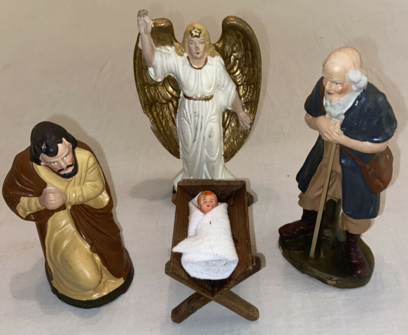 Antique Handpainted Baby Jesus Nativity Figurines Nativity Angel Germany
