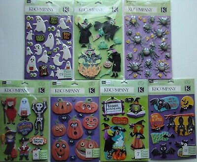 K Halloween Crafts (LOT OF 7 HALLOWEEN K&Company Stickers Brand NEW! ghost witch pumpkin spider)