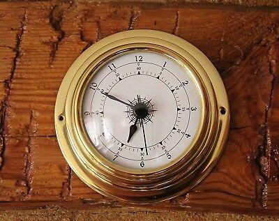 Maritime Uhr im Bullauge Ø ca. 10 cm Messing