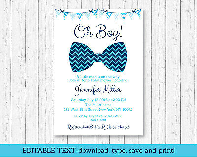 Little Man Chevron Bow Tie Oh Boy Printable Baby Shower Invitation Editable PDF](Little Man Invitations Baby Shower)