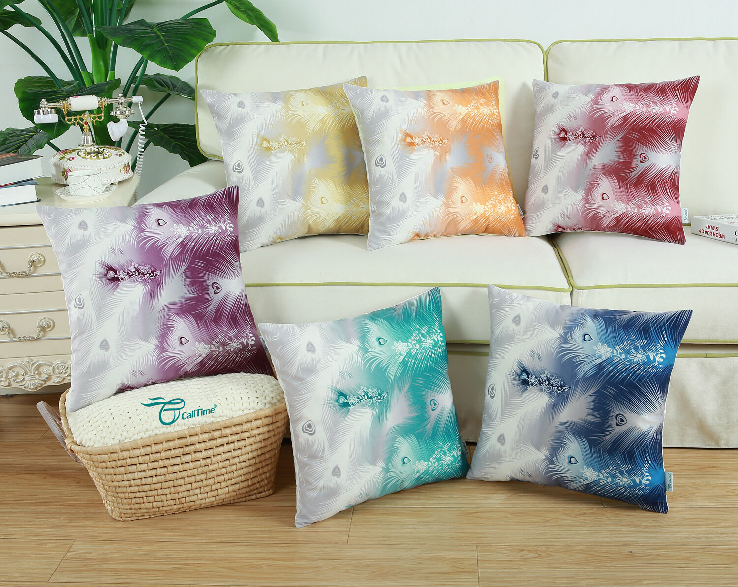 CaliTime Cushion Covers Pillow Case Shells Fantasy Peacock F