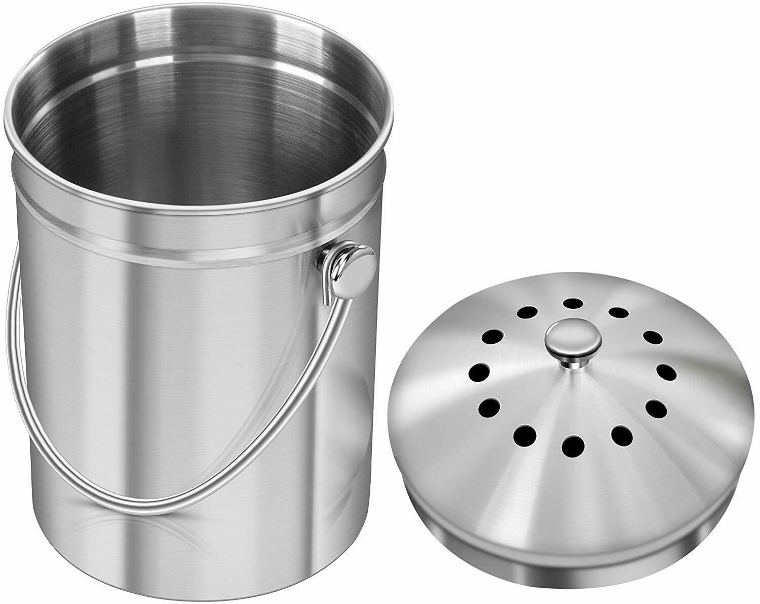 1.3 Gallon Stainless Steel Compost Bin with Lid By Utopia Kitchen