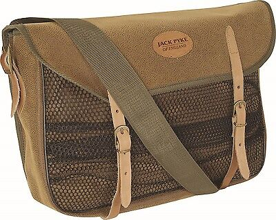 9a434d750ad4 BROWN DUOTEX VINTAGE LEATHER LOOK NET FRONT LEATHER TRIM HUNTING GAME BAG
