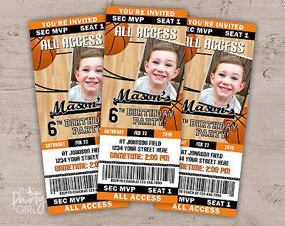 Basketball Party Invitations - Birthday Sports Invitations - Set of 12