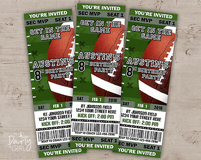 Football Party Invitations - Sports Baby Shower or Birthday - Set of 12