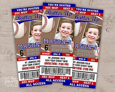 Baseball Party Invitations - Sports Baby Shower or Birthday - Set of 12