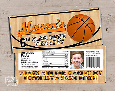 Basketball Candy Bar Wrappers - Sports Birthday Party Baby Shower Favors - 12](Sports Baby Shower)
