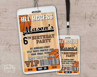 Basketball Party Invitations - Sports Birthday VIP Pass Favors - Set of 12](Sports Birthday Invitations)