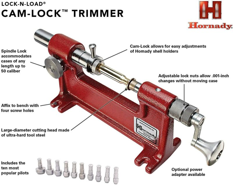 Hornady Bench Mountable Cam Lock Trimmer Reloading Includes 7 Pilots Accurate