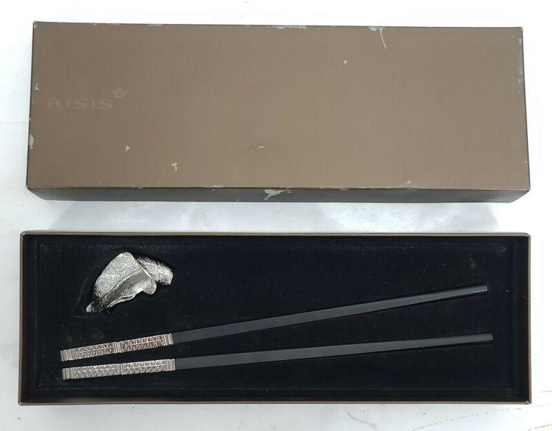 """Risis """"Zhu"""" High Quality Chopsticks Black w/ Leaf Rest Holder Rhodium Cap"""