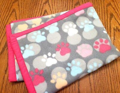"Handmade""DOG PAWS""30x41in pink trim fleece baby/toddler/lap/puppy blanket-gift"
