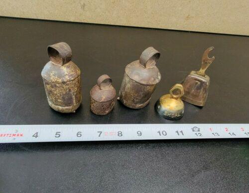 Lot of  5 Vintage  Metal Hand Held Bells