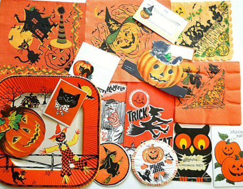16 Pc. Lot Vintage Halloween Invitations/Napkins/Place Cards/Plate 1950s-60s