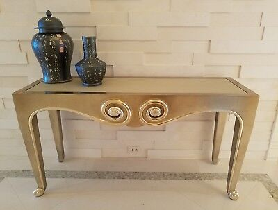 GORGEOUS SILVER LEAF SALLY SIRKIN LEWIS FOR J ROBERT SCOTT SNAIL CONSOLE TABLE ()