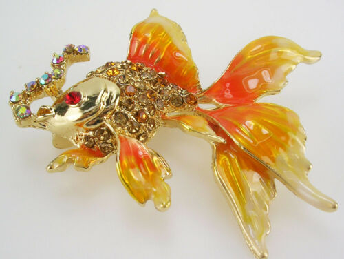 """Kenneth Jay Lane Fish Blowing Bubbles Brooch   2 """" ORANGE   """"Couture"""""""
